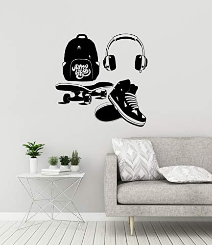 Teen kamer Vinyl Wall Decal Sneakers Skate hoofdtelefoon rugzak sticker