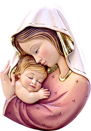 Ferrari & Arrighetti Relieve Virgen con el Niño en Talla de Madera Pintada a Mano para Colgar en la Pared - 18 cm de Altura - Demetz Deur