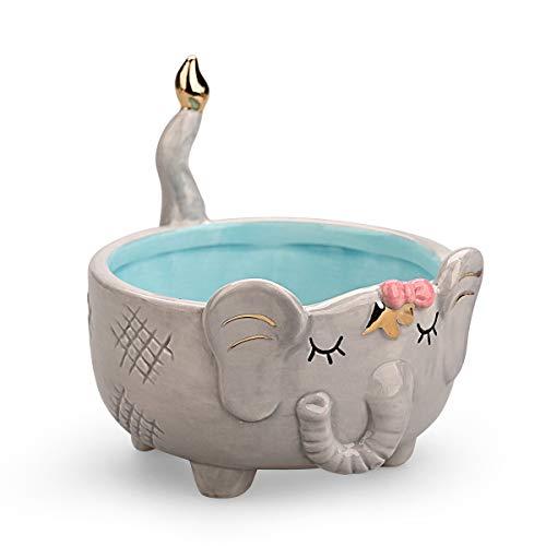 Plato para baratijas, cuenco de cerámica duradero para joyas, con forma de animal-elefante, porta joyas decorativo para anillos, pendientes, pulseras y collares Royal_Z