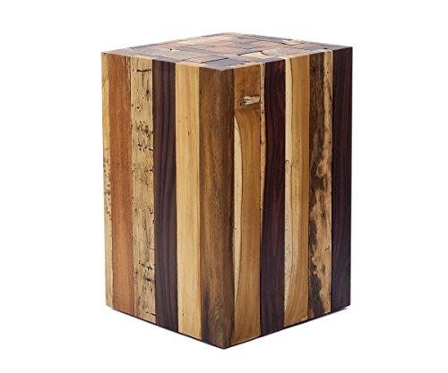 Brillibrum Design Beistelltisch aus Treibholz Stücken massiver Holzklotz Blumensäule Treibholz-Hocker Holzblock Massiv Stabil Blumenhocker Echtholz 45 x 30 x 30 cm