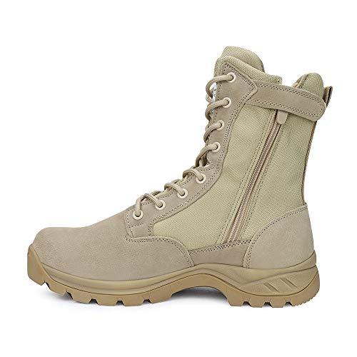 LUDEY Herren Arbeitsstiefel Militärstiefel Wanderschuhe Trekkingschuhe Army Combat Tactical Boots Outdoor Tactical Boots IDS928- Beige 46 EU