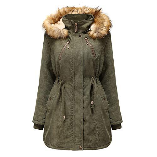 QINGZ Abrigo parka con capucha para mujer, abrigo de pana extendido, forro de piel sintética con múltiples bolsillos, esencial para mantener el calor en invierno