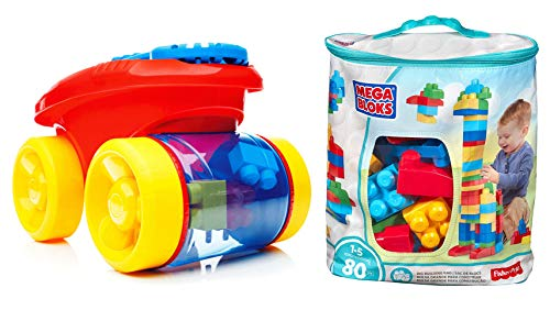 Mega Bloks Big Building Bag (Blue, 80 pcs with Block Scooping Wagon Blue)