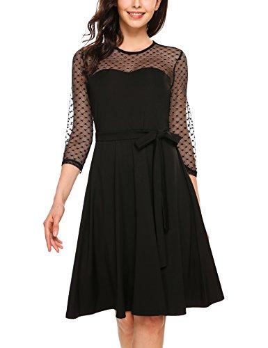 Zeagoo Damen Vintage 50er Jahr Rockabilly Kleid Swing Cocktailkleid Abendkleid Elegantes Kleid,...