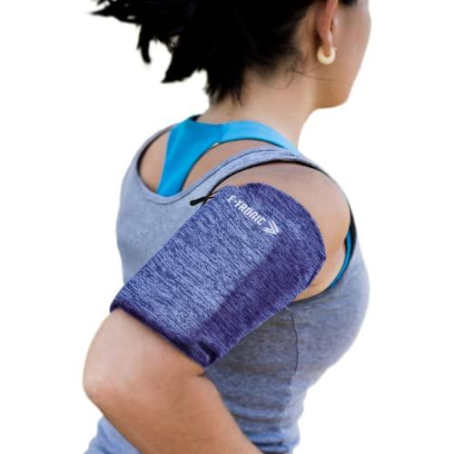 E Tronic Edge Handytasche Joggen, Laufen, Running - Sport-Armband als Handyhalterung für alle Handy-Modelle - Blau Medium