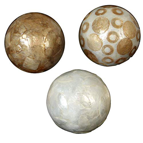 DONREGALOWEB Set de 3 Bolas de nácar de Diferentes Modelos en Tonos Blancos y tostados