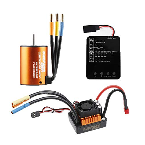 RCRunning B3650 3900KV 4P Sensorless Brushless Motor CNC with 80A ESC Waterproof and Programming Card Combo Set for 1/10 RC Car