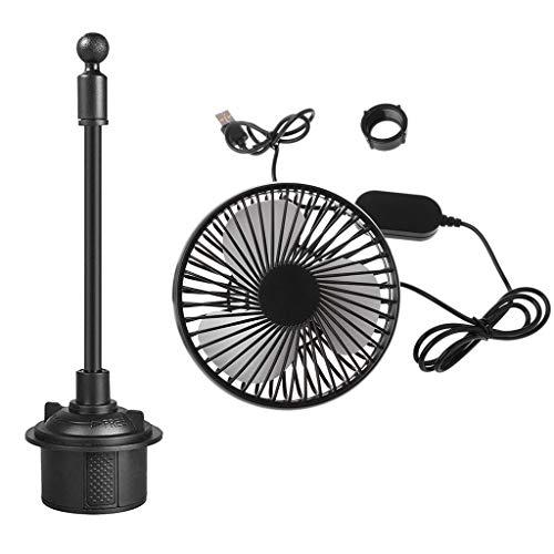 GREEN&RARE Ventilador universal de 5 pulgadas, con cuello de cisne ajustable de 5 V, ventilador USB de control de tres velocidades, apto para exteriores, interiores, viajes, hogar, oficina