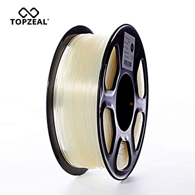 TOPZEAL 3D Plastic Filament PLA Filament 1.75mm 1KG Dimensional Accuracy +/- 0.02mm PLA Transparent 3D Printing Materials Transparent Color