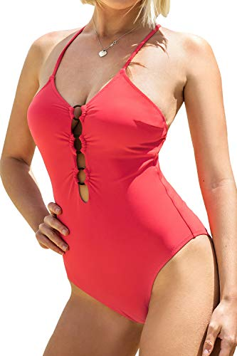 CUPSHE Women's One Piece Swimsuit V Neck Crisscross Red Bathing Suit, S