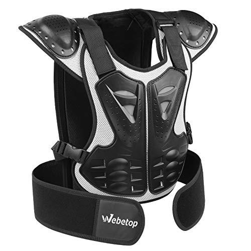 Webetop Kids Dirt Bike Body Chest Spine Protector Vest Gear for Motocross Skiing Black/Silver M