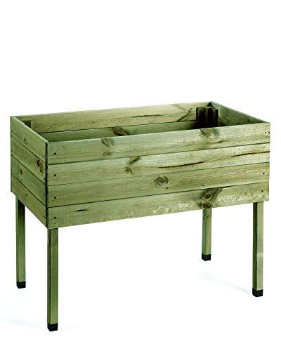 myGardenlust Hochbeet aus Holz - Kräuterbeet für Garten Terrasse Balkon - Pflanzkübel als Gemüse Beet - Pflanzkasten Groß Outdoor mit Fußkappen aus Kunststoff Grün imprägniert | 100x50 cm