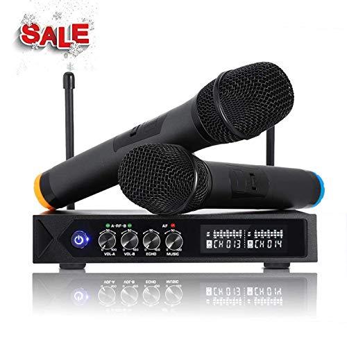 ROXTAK S9-UHF - Microfono senza fili Bluetooth 4.1, professionale, portatile, con 2 microfoni karaoke per karaoke, festa, conferenza, spettacolo, bar, riunione, studio