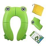 JEANS DREAM Riduttore Aqua Bambini Pieghevole Sedile Portatile da Viaggio Adattatore WC Copertura Universale per Neonati (Verde)