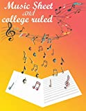 Music Sheet and college ruled line paper: gift for men and women ,boy and girl 100 pages 8.5x11 soft glossy cover ( Dual layout notebook )