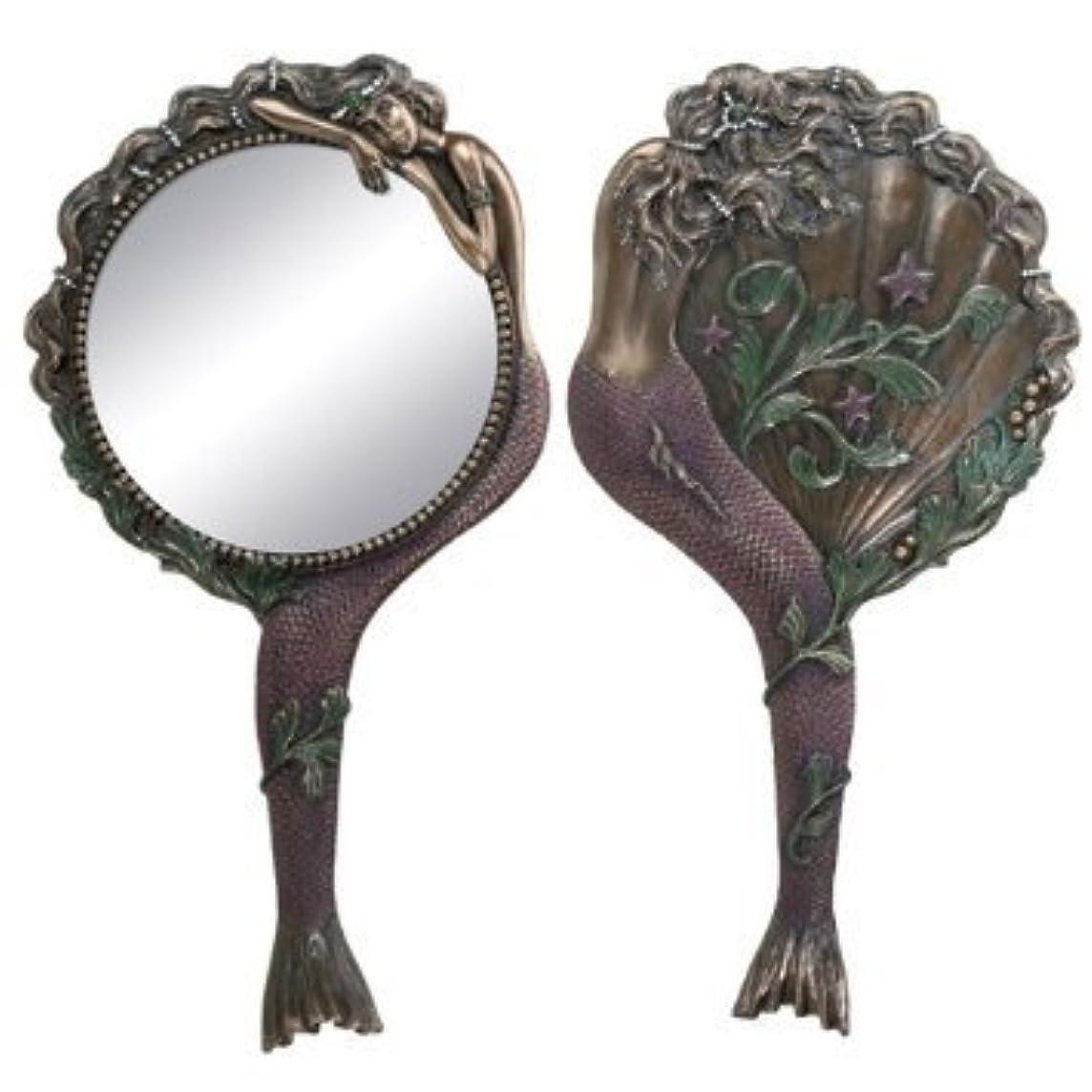 小切手遠洋の舌なArt Nouveau Collectible Mermaid Hand Mirror Nymph Decoration by Summit