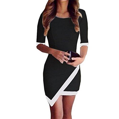 Elecenty Damen A-Linie Sommerkleid Irregulär Kleider Bandage Bodycon Frauen Rundhals Kurzarm Mode Kleid Minikleid Kleidung Cocktailkleider...