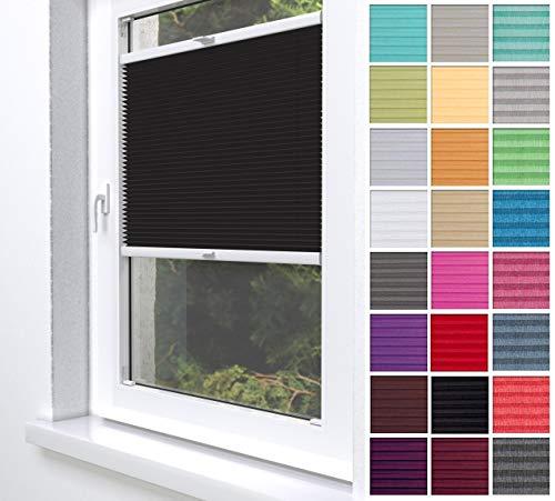 Home-Vision® Premium Plissee Faltrollo ohne Bohren zum Kleben Innenrahmen Blickdicht Sonnenschutz Jalousie für Fenster & Tür (Schwarz, B80 x H150cm)