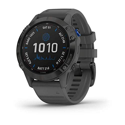 Garmin Fenix 6 Pro Solar, 47mm Nero con Cinturino Grigio Ardesia - GPS Smartwatch con Ricarica Solare, Display a Colori, App Multisport, Bussola, Barometro e Altimetro 010-02410-11