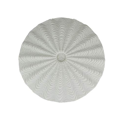 Contrast White Sandstone Finish Sea Urchin Shell Wall Sculpture 14.5 Inch Diameter
