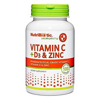 NutriBiotic – Vitamin C + Vitamin D3 & Zinc 100 Capsules | Potent Comprehensive Immune Support | Essential & Antioxidant Daily Supplement | Gluten & GMO Free