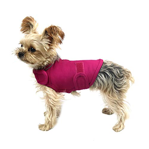 cattamao Comfort Dog Anxiety Relief Coat, Dog Anxiety Calming Vest Wrap for Thunderstorm,Travel,Fireworks,Vet Visits,Separation XS Small Medium Large XL Dog (XS, Rose)