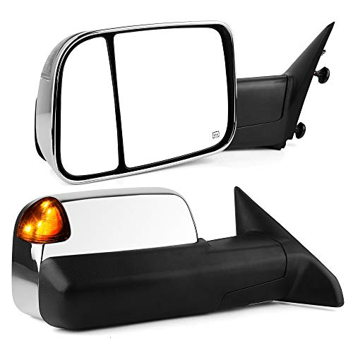 YITAMOTOR Towing Mirrors Compatible with Dodge Ram, Chrome Power Heated LED Turn Signal Light Puddle Lamp, Replacement for Dodge Ram 2009-2017 1500, Ram 2010-2017 2500 3500