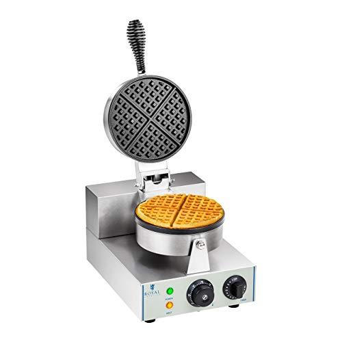 Royal Catering Gaufrier Machine à Gaufres Rond RCWM-1300-R (43x25x56cm, 1.300 W, minuterie jusqu'à 15 min, plaque de cuisson en téflon et alu)
