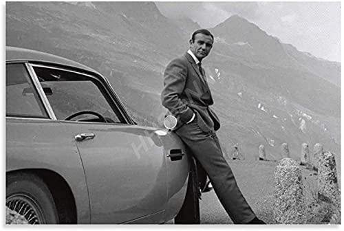 James Bond 007 - Poster Goldfinger DB5 in bianco e nero su tela per camera da letto, decorazione da parete per soggiorno, opere d'arte per la casa (40,6 x 61 cm, senza cornice)