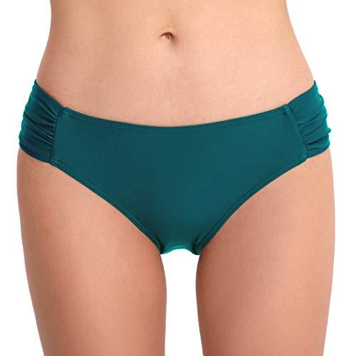 FEOYA Bikini Bottom Damen Sexy Bikinihosen in Herzform Bademode Slip Brazilian Bikini Thong String Tanga Badeanzug Beachwear Grün M