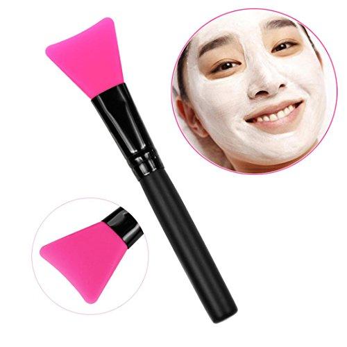 Brosse Mask,OVERMAL PoignéE En Bois Visage Facial Masque De Boue MéLange De Brosse CosméTiques Kit De Maquillage (rose vif)
