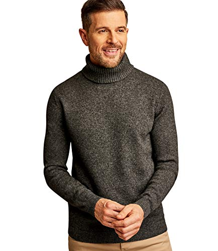 WoolOvers Mens Lambswool Turtle Neck Sweater Charcoal, L