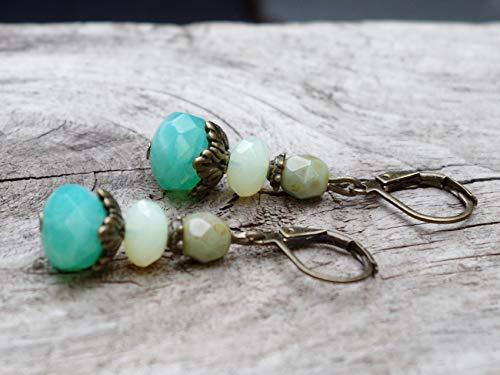 Vintage Ohrringe mit böhmischen Glasperlen - türkis aqua, lemon opal, khaki & bronze
