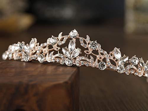 SWEETV Rose Gold Wedding Tiara for Bride & Flower Girls, Rhinestone Princess Tiara Headband Birthday Crown, Bridal Hair Accessories for Women