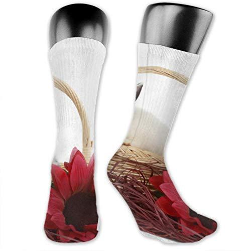 JONINOT 2 paquetes de calcetines deportivos ligeros y cómodos 40CM novedad divertida cesta de mimbre de conejo joven aislado medias largas