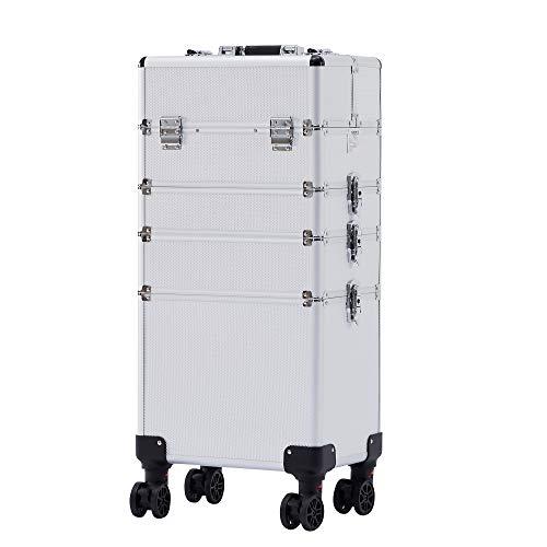 Arebos 4-in-1 Kosmetikkoffer | 4 Fächer & 1 Schublade | Teleskop- und Tragegriff | 8 Schlösser | 4X 360°-Rollen | Samtfutter | Trolley | Make-Up Koffer
