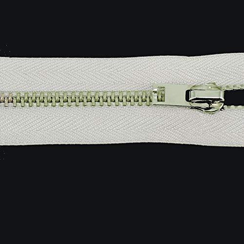 WedDecor Heavy Duty Wit Metalen Tand Rits Sluit Einde Rits Witte Tape voor Scheiden Broek Jas DIY Naaien Kleding Jassen Tailor Ambachten Tassen Kussen Jurken, 15 Inch 15 Inches Kleur: wit