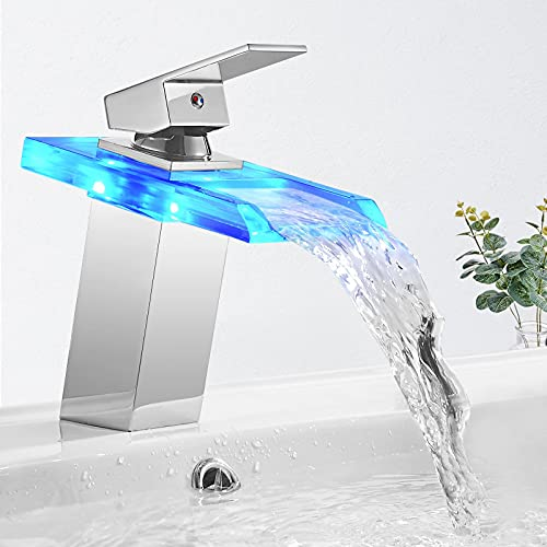 BONADE Grifo de Lavabo con Iluminación LED RGB para Baño Cascada Monomando Mezclador Latón y Cristal, Griferia Agua Fría y Agua Caliente