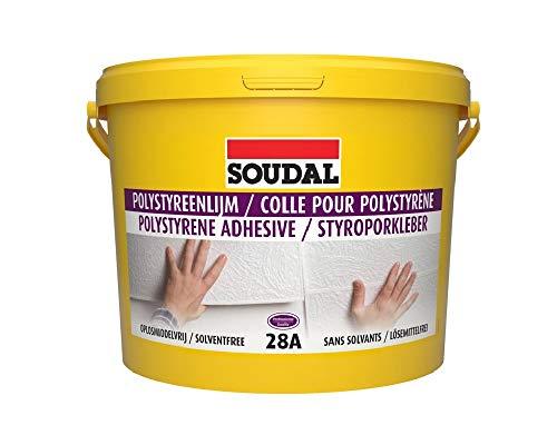 Soudal 28A Styroporkleber für weiche/harte Styroporplatten an Wand + Boden 5Kg Weiß