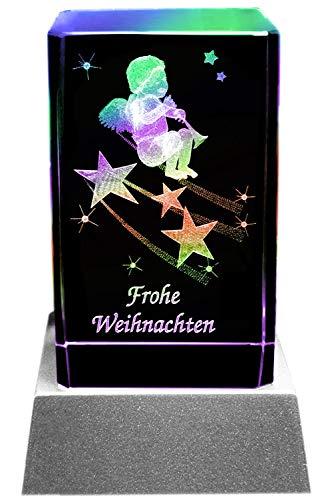 Kaltner Präsente Sfeerlicht LED kaars/kristal glazen blok / 3D-lasergravure engel met trompet opschrift Vrolijk Kerstmis