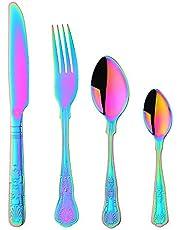 Köpare stjärna bestickset, rostfritt stål porslin servis-set knivar gaffel skedar, spegelpolerad skalmönster 4set/16pcs Regnbåge
