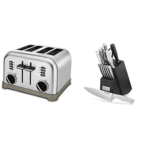 Cuisinart CPT-180P1 Metal Classic 4-Slice toaster, Brushed Stainless & C77SS-15PK 15-Piece Stainless Steel Hollow Handle Block Set