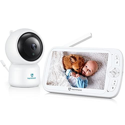 HeimVision Baby Monitor 1080P Telecamera Neonato con LCD Schermo da 5 Pollici Baby Monitor Video con Visione Notturna, PTZ a 360 Gradi, Registrazione e Riproduzione, VOX, 8 Ninne Nanne