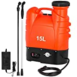 Happybuy Battery Operated Backpack Sprayer 4-Gallon Electric Weed Sprayer 12 Volt with Aluminum Telescopic Rod for Garden Lawn Agriculture Spray
