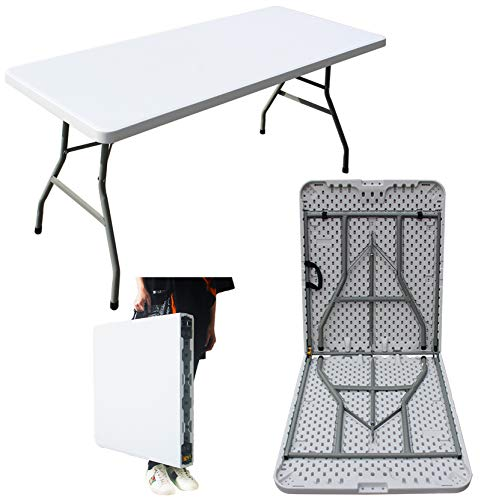 5ft Folding Table Plastic Trestle Heavy Duty for Garden Camping BBQ Dining Picnic Patio Party Catering Buffet White with Carrying Handle
