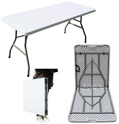MQ - Mesa plegable de plástico de 1,5 m, para interior y exterior, para camping, jardín, cocina, catering, fiesta, mercado, buffet, comedor, barbacoa