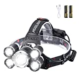 Headlamp, Headlamps for Adults, Ultra Bright 5 LED Rechargeable Headlamp, USB Waterproof Head lamp, 6000 Lumens 4 Models,18650 Batteries, Perfect for Outdoor, Camping, Running