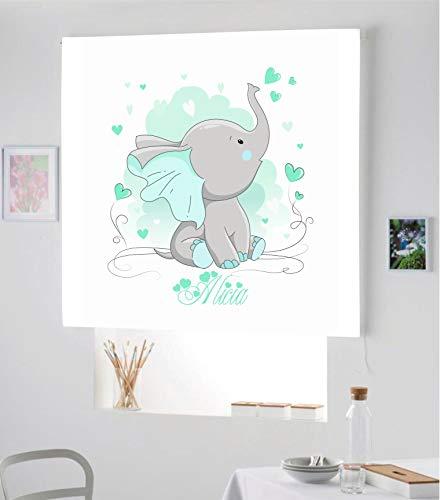 Desconocido Estor Infantil Enrollable TRANSLUCIDO Digital Elefante Alicia para Poner TU Nombre¡¡Nuevo Estor Enrollable Infantil con Nombre A Todo Color HABITACION NIÑAS (Verde Esmeralda, 150X170)