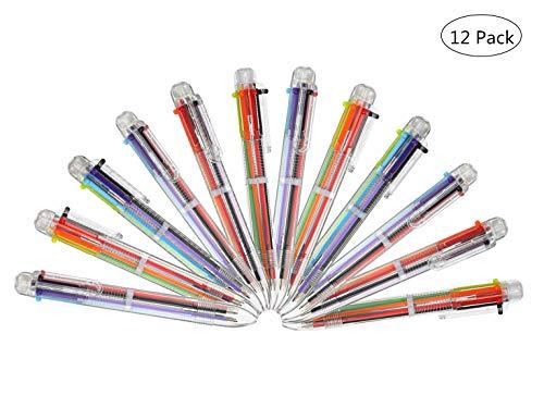 Bolígrafos de Multicolor 6-en-1,12 Piezas Pluma de Color de Prensa Bolígrafos Multicolores para Escuela Suministros Estudiantes Niños Oficina (6 Colores)