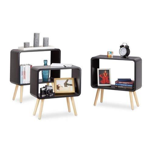 Relaxdays staande rekken klein, kubusrekken in 3-delige set, open bijzettafels met 4 poten, kubusrekken hout, MDF, zwart